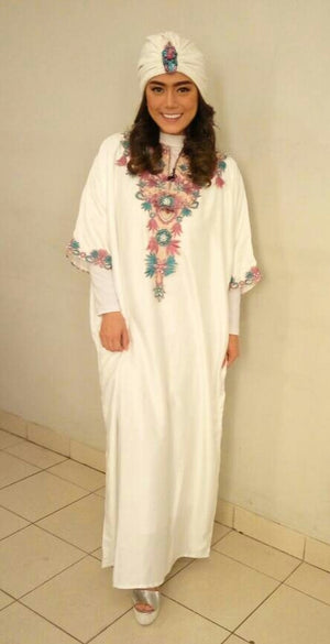 Berna Kaftan Women Short Sleeve Hand Beaded Satin White