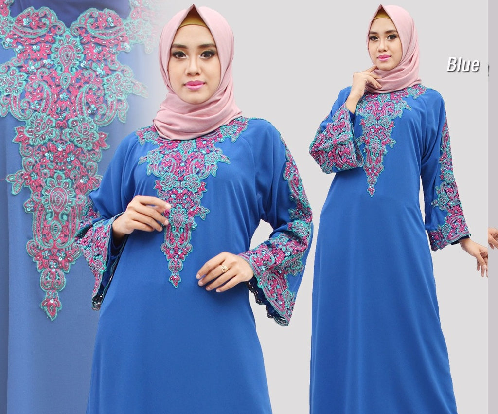Isyana Embroidered Sequined Chiffon Muslim Dresses Blue