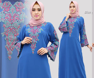 Isyana Kaftan Hand Beaded Women Long Sleeve Chiffon Maxi Dress Blue