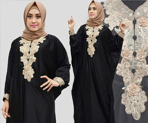 Citra Kaftan Women Bat Sleeve Luxury Embroidery Satin Black