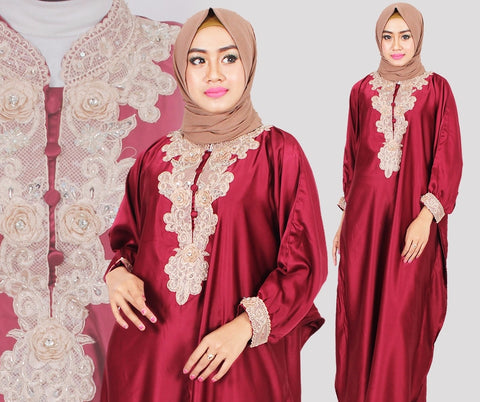 Citra Kaftan Women Bat Sleeve Luxury Embroidery Satin Maroon