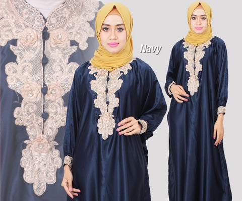 Citra Kaftan Women Bat Sleeve Luxury Embroidery Satin Navy