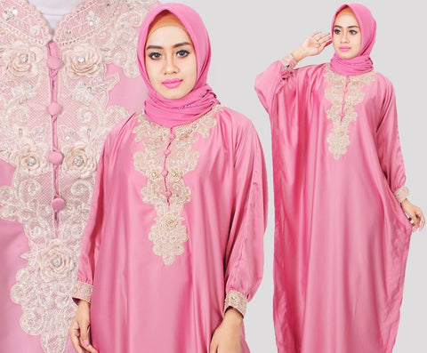 Citra Kaftan Women Bat Sleeve Luxury Embroidery Satin Pink