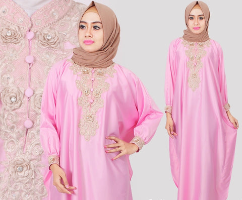 Citra Kaftan Women Bat Sleeve Luxury Embroidery Satin Soft Pink