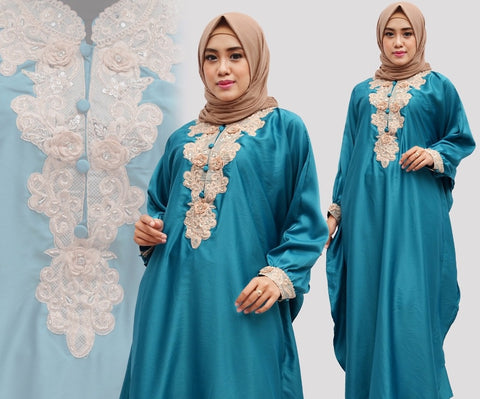 Citra Kaftan Women Bat Sleeve Luxury Embroidery Satin Tosca