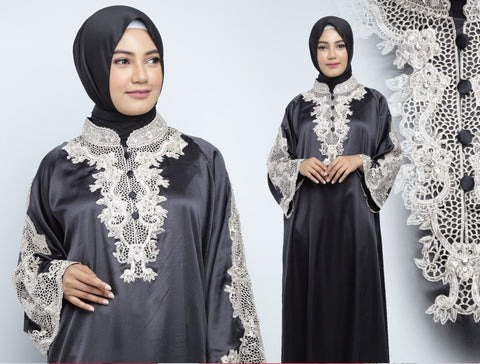 Ashima Kaftan Women Long Sleeve Hand Beaded Satin Black