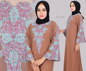 Isyana Embroidered Sequined Chiffon Muslim Dresses Brown