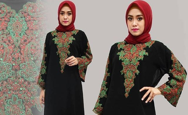 Isyana Embroidered Sequined Chiffon Muslim Dresses Black