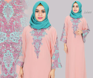 Isyana Embroidered Sequined Chiffon Muslim Dresses Salmon