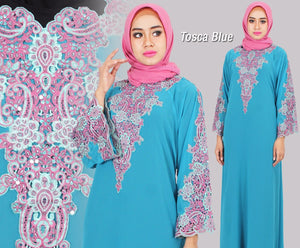 Isyana Embroidered Sequined Chiffon Muslim Dresses Tosca Blue