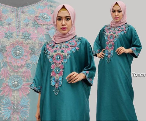 Berna Kaftan Women Short Sleeve Hand Beaded Satin Tosca