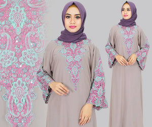 Isyana Embroidered Sequined Chiffon Muslim Dresses Grey