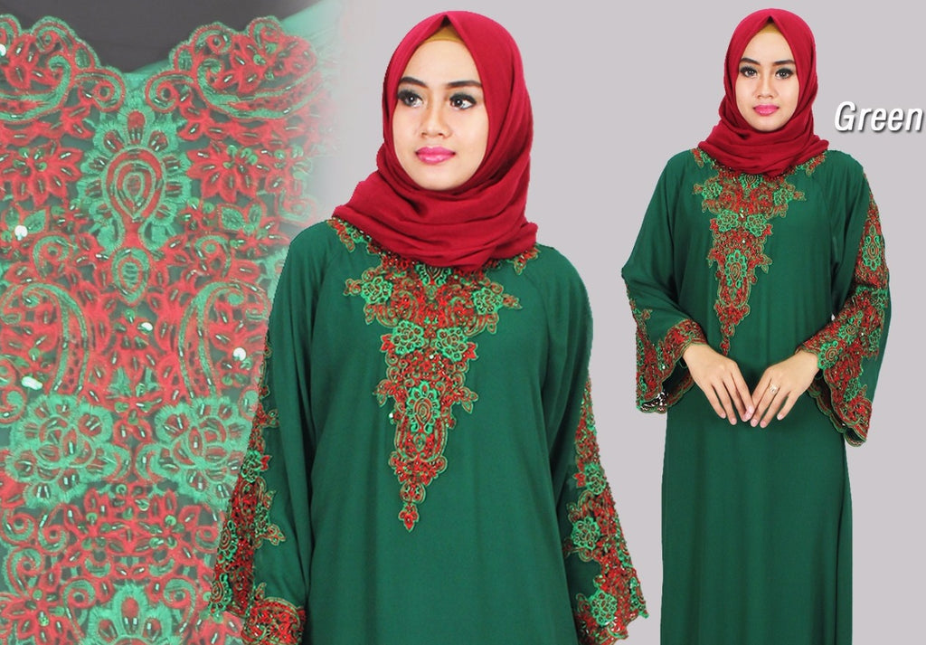 Isyana Embroidered Sequined Chiffon Muslim Dresses Green