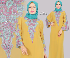 Isyana Embroidered Sequined Chiffon Muslim Dresses Yellow