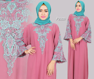 Isyana Embroidered Sequined Chiffon Muslim Dresses Peach