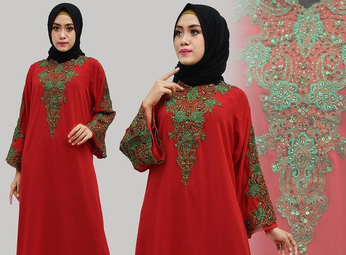 Isyana Embroidered Sequined Chiffon Muslim Dresses Red