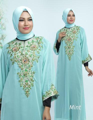 Gamis Cerutty Bordir Motif Savira Mint