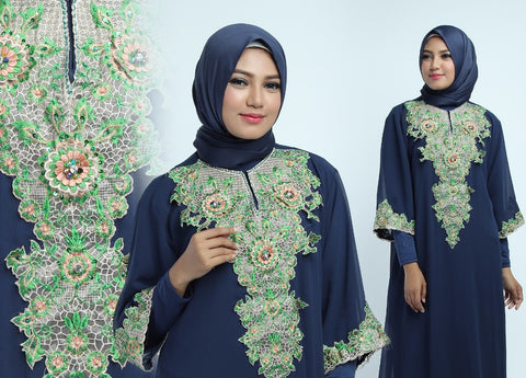 Gamis Cerutty Bordir Motif Savira Navy