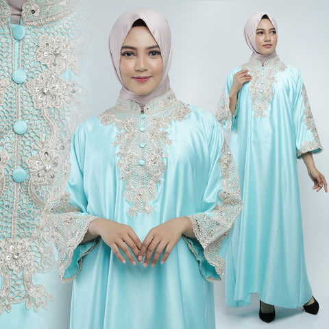 Ashima Kaftan Women Long Sleeve Hand Beaded Satin Tosca