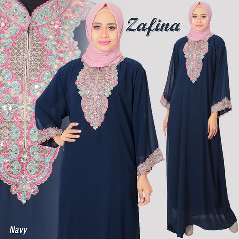 Gamis Cerutty Bordir Motif Zafina Navy