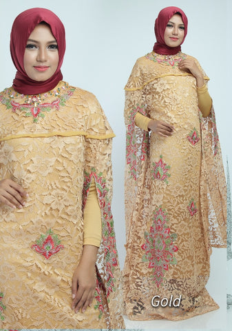 Zita Kaftan Women Bat Sleeve Luxury Embroidered Brocade Gold