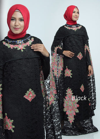 Zita Kaftan Women Bat Sleeve Luxury Embroidered Brocade Black