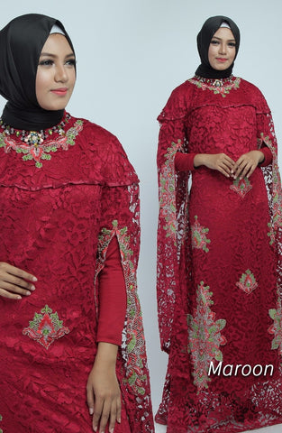 Zita Kaftan Women Bat Sleeve Luxury Embroidered Maroon