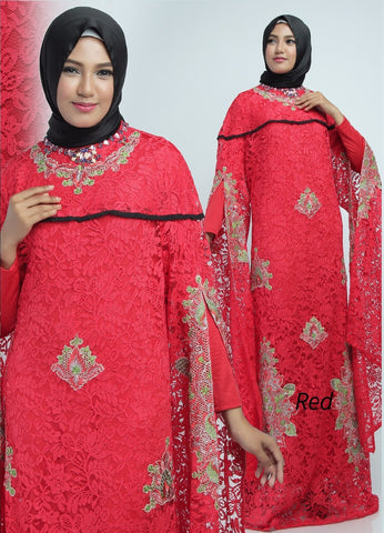 Zita Kaftan Women Bat Sleeve Luxury Embroidered Brocade Red
