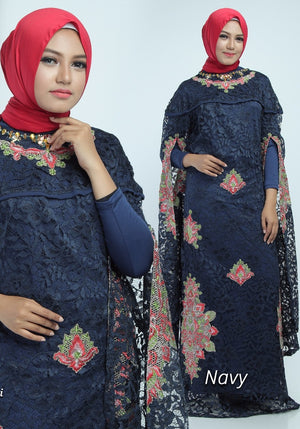 Zita Kaftan Women Bat Sleeve Luxury Embroidered Brocade Navy