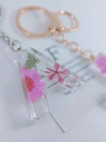 Pink floral resin keychain