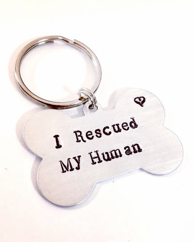 I Rescued My Human Dog Tag