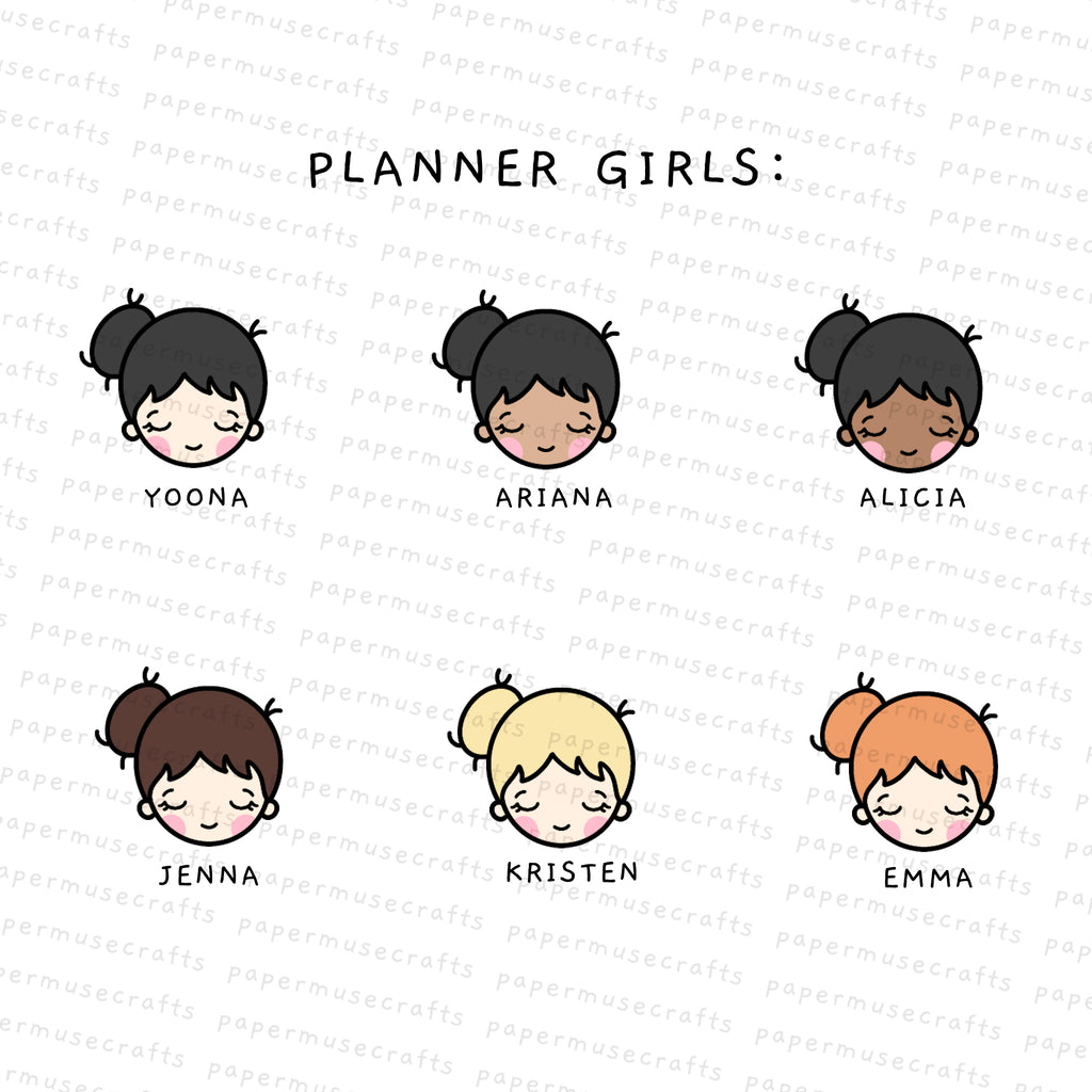 Planner Girls | Character Stickers | Pregnancy Bump