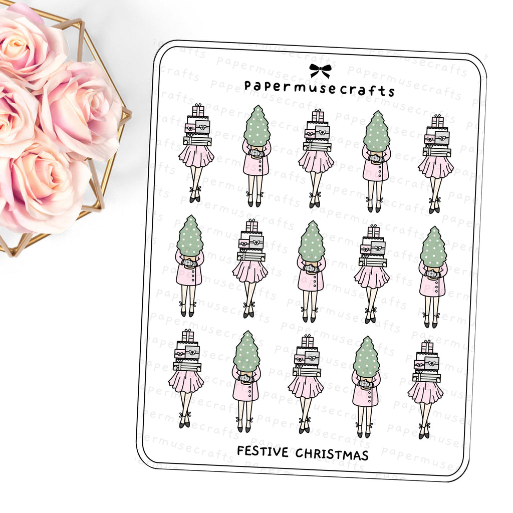 Planner Girls | Character Stickers | Festive Christmas
