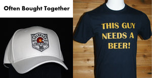 "Men's Short Sleeve Navy Blue Shirt: ""THIS GUY NEEDS A BEER"" & White Baseball Cap"