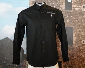 McClellan's Men's Button Down, Long Sleeve Black Shirt with embroidered McClellan's Logo