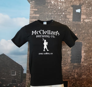 McClellan's Black Shirt with large McClellan's Logo on front