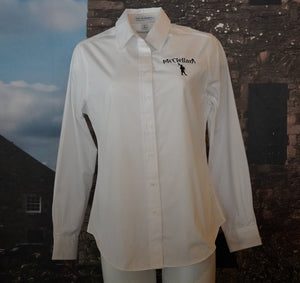 McClellan's Women's Button Down, Long Sleeve White Shirt with embroidered McClellan's Logo