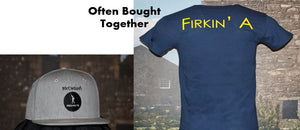 "McClellan's Men's Navy Blue Shirt with ""Firkin A"" on back & Heather Baseball Cap"
