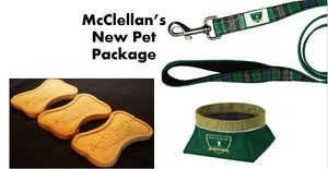 McClellan's New Pet Package including leash, travel bowl & yummy treats