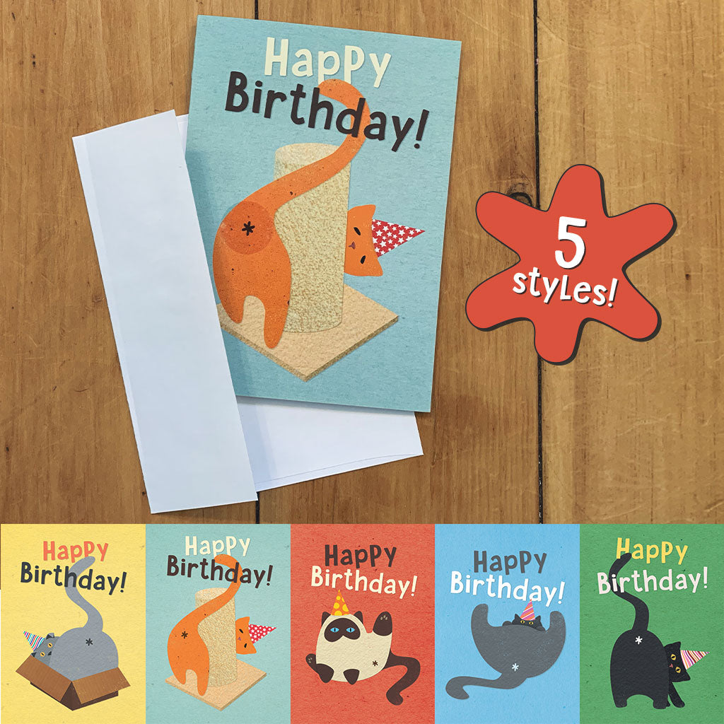 Cat Butt Scratch & Sniff Birthday Card - 5 Styles