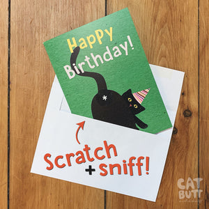 Cat Butt Scratch & Sniff Book & Birthday Card Combo Pack