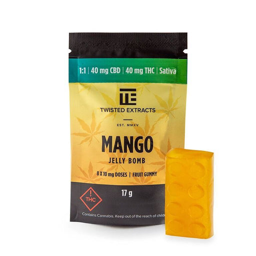 Twisted Extracts 1 to 1 Mango Jelly Bomb – (40mg THC/40mg CBD)