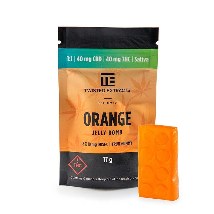 Twisted Extracts 1 to 1 Orange Jelly Bomb – (40mg THC/40mg CBD)