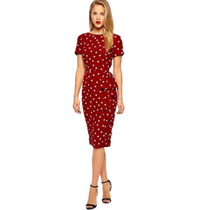 Frill Polka Dot Office Knee Length Dress