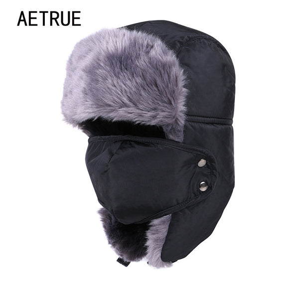 Winter Hat Bomber Hats For Men Women Thicken Balaclava Cotton Fur Winter Earflap Keep Warm Caps Russian Skull Mask Bomber Hats