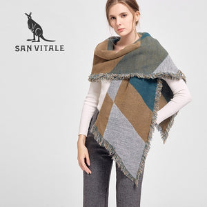 Luxury Brand Winter Large Soft Wool Cashmere Plaid Scarf