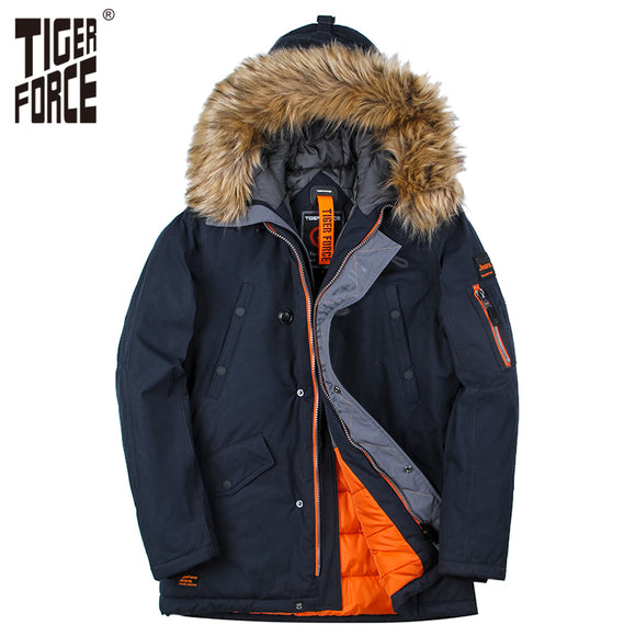 TIGER FORCE 2017 Men Padded Parka Cotton Coat Winter Jacket Mens Fashion Winter Coat Thick Parkas Artificial Fur Free Shipping