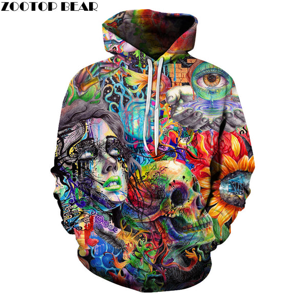 Paint Skull 3D Printed Hoodies