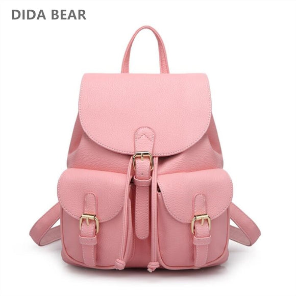 DIDA BEAR Women Leather Backpack