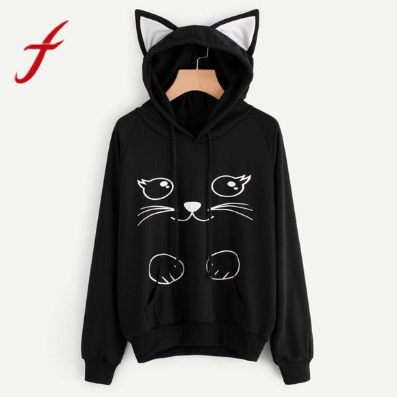 Autumn Lovely Cat Printed Long Sleeve Sweatshirt Hoodie
